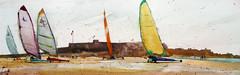 Chars à Voile au Fort de Keragan (andremehu) Tags: watercolor watercolour acuarela aquarelle aquarela acquarello landscape waterfrontscape seascape seasidescape sandyachting char à voile france bretagne guidel