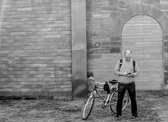 Path tracking (A. Yousuf Kurniawan) Tags: pathway people cyclist minimalism minimalist monochrome blackandwhite wall streetphotography urbanlife bicycle hobby bike travelling hdr