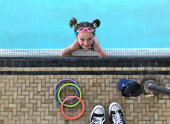 Luna Day 1644 (evaxebra) Tags: luna pool swim pigtails goggles converse dive rings bandaid tile swimming lesson class