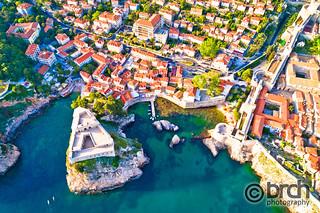 Dubrovnik ancient landmarks Lovrijenac and Pile city gate aerial view