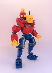 Mecha Bob (Kingmarshy) Tags: lego system mech mecha bob figure mini minifig giant big large robot red blue yellow poseable pilot upscale enlarged thicc moc