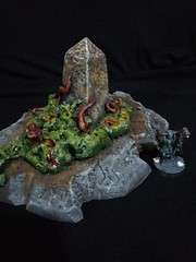 Nurgle obelisk (srejicd) Tags: nurgle warhammer wh aos age sigmar bretonnia church worm mass monster stained glass cathedral eyes tentacles ulcers pimples garden trees sick scary horror mutation obelisk eggs demons chaos fort symbol intestines bile teeth horns scenery terrain