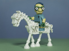 Fallout Boy (N.the.Kudzu) Tags: tabletop lego miniature falloutboy simpsons horse canondslr primelens canoneflens canon50mmf18 dxo