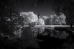 Johannapark Leipzig (inmyeyespictures) Tags: leipzig johannapark teich pond bäume trees schwarz weis infrarot kirche church stadt city black white fujifilm xt1 xf 14 28 infrared ir700 breathtakinglandscapes