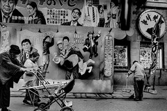 Street 新世界 402 (soyokazeojisan) Tags: street japan osaka bw blackandwhite walk city monochrome analog olympus m1 28mm trix kodak film 1970s 1973 memories 昭和