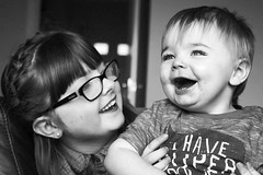Jamie and Max (Daniel_Herrick_Photographer) Tags: black white children laughing smiling girl boy brother sister love