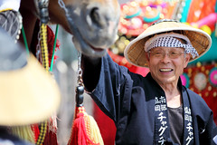 Horse Man 1b, Chagu Chagu Umako horse festival (David K. Werk) Tags: japan japanese festival man elderly old hat celebration celebrate horse chagu umako chaguchaguumakko traditional costume sunny summer glasses asian
