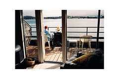 (Julie Stutzman) Tags: oregon film color analog contaxt3 fujifilm newport coast yaquina bay grandmother deck view usa pnw