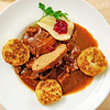Tender goulash (from brewer's grain-fed bulls) with pear, cranberries, sliced dumpling (and cucumber salad) (hhschueller) Tags: food nrw germany duitsland deutschland düsseldorf duesseldorf samsungs8 ドイツ デュッセルドルフ