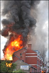 Station Street Fire (1980blue) Tags: barry valeofglamorgan southglamorgan southwales wales seaside dock docks fire brigade arson insurance may2018 summer action excitement crowd hero