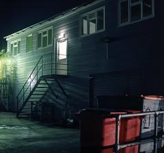 ..... (R.Scottsdale) Tags: nightphotography night neon analog light l alone afterhours c41 color building boring mundane mediumformat 6x6 f56 film format focus sqaure 120 mamiya c330 dark darkness shadow space homeprocess tlr tetenal twinlensreflex