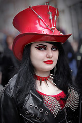 Street portrait from Sunday at the Whitby Gothic Weekend, April 2018 (Gordon.A) Tags: yorkshire whitby whitbygoths whitbygothicweekend whitbygothweekend wgw wgw2018 goth gothic girl creative makeup hat costume cosplay culture lifestyle style street festival event streetevent eventphotography amateur streetphotography streetportrait colourportrait colourstreetportrait portrait naturallight naturallightportrait pose posed digital canon eos canoneos750d sigma sigma50100mmf18dc