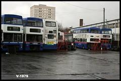 Miller Street ((Stop) The Clocks) Tags: 4035 3067 3015 wmpte mcw volvob7 mcwmetrobus millerstreet scrapbuses withdrawnbuses westmidlandstravel f67xof f315xof v35moa