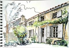 Dans un jardin à Verrines (Croctoo) Tags: croctoo croquis croctoofr aquarelle watercolor poitoucharentes poitou verrines jardin maison