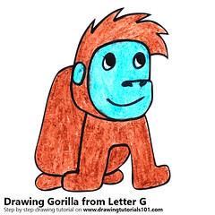 Gorilla from Letter G (drawingtutorials101.com) Tags: gorilla from letter g with animals letters animal sketching sketch sketches draw drawing drawings color colors coloring how pencil pencils speed