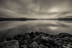 Early morning by the Alfjord, Norway (MortenTellefsen) Tags: 2018 grasdalen fjord morning reflection water monochrome panorama wide bw blackandwhite blackandwhiteonly ålfjorden norway norwegian nature norsk natur quite calm relax relaxing stones steiner bnw artinbw landscape landskap