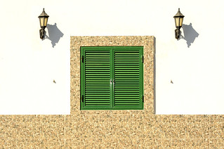 Green window and two lamps