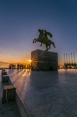 Alexander the great at sunset (Vagelis Pikoulas) Tags: statue salonica thessaloniki macedonia greece north winter february sun sunset sunshine sunburst view landscape city cityscape urban tokina 1628mm canon 6d