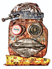 made with found objects... (STREET MASTER) Tags: artbychrisrichey artwork decay fineart folkart foundobject rust trash rubbish weird face sculpture
