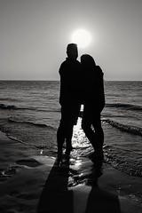 My wife and I at sunset (Dannis van der Heiden) Tags: beach sundown sunset romance married happy monochrome blackwhite ouddorp zeeland samsungs8 sky couple shadow silhouette