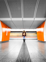 Leading lines (Toukensmash) Tags: wien vienna underground subway station u3 westbahnhof long girl standing waiting leading lines blind bright train architecture geometry too late evening night pentax k1 rokinon 14mm wide angle idea ubahn wiener linien way metro orange minimalism
