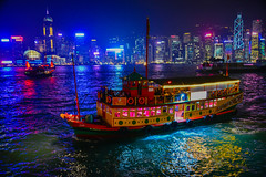 Traditional Boats at Night on Victoria Harbour - Hong Kong (mbell1975) Tags: hongkong kowloon hk traditional boat night victoria harbour hong kong china sar lights evening dark harbor sea water ocean pacific vessel ferry ship 香港