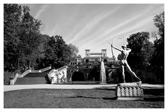 Orangery Palace and Bowman (Sandra Köppen | P H O T O G R A P H Y) Tags: architecture bright blackwhite black day fairytale light morning may outdoor parksanssouci park potsdam still season simple sparkle soft serene spring sky saturday white