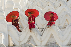 3 novice monks trying to stay cool in the hot sun (Kathy~) Tags: monks novicemonks red umbrella young boys three 3 mya myanmar burma mingun onwhite asia travels fotocompetition fotocompetitionbronze starsaward friendlychallenges fotocompetitionsilver instagram