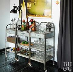 Vintage Bar Carts (Heath & the B.L.T. boys) Tags: industrial cart metal bar diningroom wallsconce vintage bottle