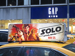 Solo Star Wars Movie Poster Taxi Cab Ad Fin 2146 (Brechtbug) Tags: solo a star wars movie poster taxi cab ad fin alden ehrenreich han donald glover lando calrissian joonas suotamo chewbacca woody harrelson tobias beckett may 2018 new york city portrait portraits eight story space opera film science fiction scifi robot metal man adventure galactic prototype design metropolis standee nyc billboard billboards posters 7th ave 42nd street ads advertisement advertisements 05162018 st avenue