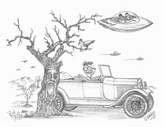 Speed (rod1691) Tags: myart art sketchbook bw scifi grey concept custom car retro space hotrod drawing pencil h2 hb original story fantasy funny tale automotive illistration greyscale moonpies sketch sexy
