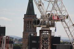 Yongmao STL luffing jib crane with the clock tower of Brisbane's City Hall behind (tanetahi) Tags: towercrane brisbane yongmao luffing jib tanetahi