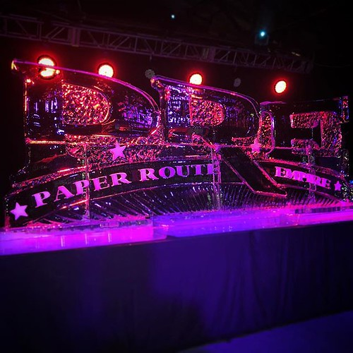 #paperrouteempire representing @therockboxsatx tonight! #fullspectrumice #sanantonio #custom #icesculpture #thinkoutsidetheblocks #brrriliant - Full Spectrum Ice Sculpture