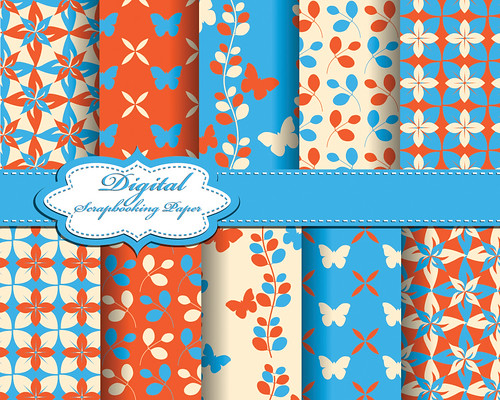 "set of vector flower abstract pattern paper with butterfly for scrapbook • <a style=""font-size:0.8em;"" href=""http://www.flickr.com/photos/151084956@N05/41645675392/"" target=""_blank"">View on Flickr</a>"