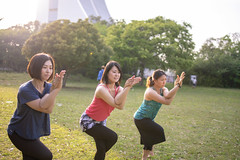 Female friends practicing yoga in public park (Apricot Cafe) Tags: img91010 3034years adultsonly asia asianandindianethnicities healthylifestyle japan japaneseethnicity odaibatokyo relaxationexercise tamronsp35mmf18divcusdmodelf012 tokyojapan athlete backlit beautifulwoman capitalcities copyspace day flexibility fulllength happiness lifestyles mindfulness nature onlywomen outdoors people photography posing practicing publicpark realpeople sideview sky smiling sport springtime standingononeleg stretching sunlight threepeople threequarterlength togerness traveldestinations vitality women yoga youngadult shinagawa tokyo jp