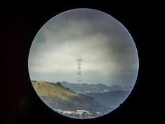 Sutro through the telescope (eviloars) Tags: sanfrancisco bay area iphoneography iphone circle san mateo sutrotower