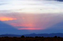 Evening Light Show (Patricia Henschen) Tags: colorado sanluisvalley alamosa sunset clouds mountains sangredecristo rural countryside backroad backroads crepuscular rays