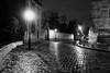 Polar (Jean-Jacques Mattei) Tags: paris montmartre pluie rain pavé rue street nuit nigth noiretblanc blackandwhite city lampadaire reflet