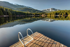 Morning Reflection at Lost Lake (PIERRE LECLERC PHOTO) Tags: whistler lostlake lake reflection morning sunrise mountains whistlerblackcomb whistlermountain landscape dock water swimming calm still nature bc britishcolumbia canada outdoors adventure pierreleclercphotography 5dsr spring april