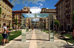 Artistic installation made by the artist Burel - La Spezia (LaDani74) Tags: old modern artisticinstallation burel perspective laspezia liguria italy street reflections canoneos760d sigma1750 liberty architecture geometry