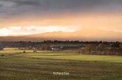 Luminous Immersion (http://www.richardfoxphotography.com) Tags: ben ledi benledi scotland scottishhighlands mountain hills crepuscularrays farmland sunset kippen trossachs outdoors