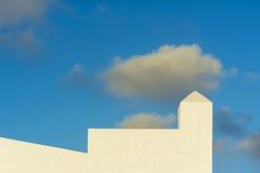 White battlement (Jan van der Wolf) Tags: map18221v sky clouds wall muur kanteel battlement crenel merlon fuerteventura geometric geometry geometrisch geometrie