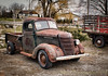 Idle Down (HTT) (13skies) Tags: old truck pickuptruck notl niagaraonthelake relics antiques classic cool rusted rusty tires windows headlights bumper bed drive parked road haul move sonya57 singleshothdr truckthursday happytruckthursday