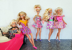 Steppin Out Barbie, Southern Beauty, Winter Fun, Garden Party, My First Princess Barbie dolls (alenamorimo) Tags: barbie barbiedoll dolls barbiecollector groupshot dresses superstar