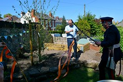 Lord Lieutenant of Merseyside attempts to cut the ribbons with his sword (James O'Hanlon) Tags: secret gardens oxton 2018 secretgardensofoxton2018 secretgardensofoxton flowers plants photos pics pictures wirral merseyside prenton prep school mayor ann mclachlan lord lieutenant lordlieutenant event festival