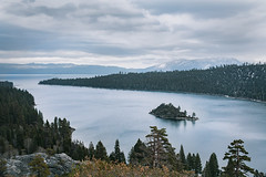 calm before the storm (blackeyeliner) Tags: emeraldbay alpinelake laketahoe pineforest fannetteisland snow mountains morning dawn cold mood solitude lonely peaceful highcontrast tahoe california northamerica usa canoneos5d canonef35mmf2 primelens landscape