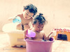 Lazy day so I play (stormymayen) Tags: kids baby basin bathtub water pail bathing children playing sunny day light bright family photography happy cute worryfree colourful