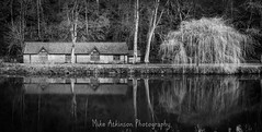 The Boathouse & the Winter Weeping Willow Tree (Mono). (Mike Atkinson Photography) Tags: aoi elitegalleryaoi bestcapturesaoi aoi3levels
