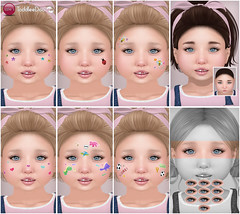 Preview Toddleedoo Face Stickers, Hairbase & Lashes (Izzie Button (Izzie's)) Tags: toddleedoo td izzies sl facesticker hairbase lashes eyelashes kid toddler baby appliers