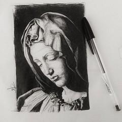 Cast drawing of Michelangelo's Pieta (Lena.Adams) Tags: pieta mastercopy drawing bic pen art artpractice lenaadams michelangelo castdrawing